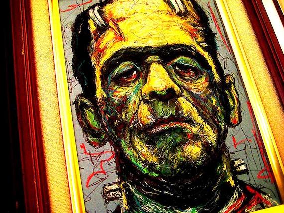 Frankenstein - Original Drawing - Dark Art Pop Abstract Horror Halloween Spooky Gothic Macabre Dracula Vintage Monster Creature Scary Bats