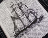 SAILING SAILING OVER THE OCEAN BLUE 8 X 10 PRINT ON VINTAGE DICTIONARY PAGES