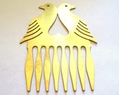 Gorgeous Vintage Brass Love Birds Hair Comb