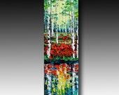 B. Sasik Original Oil Painting fall tree ART palette knife texture
