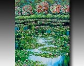Lily Pond Painting Original Oil Painting Water Lilies Abstract Contemporary Fine Art Modern Palette Knife