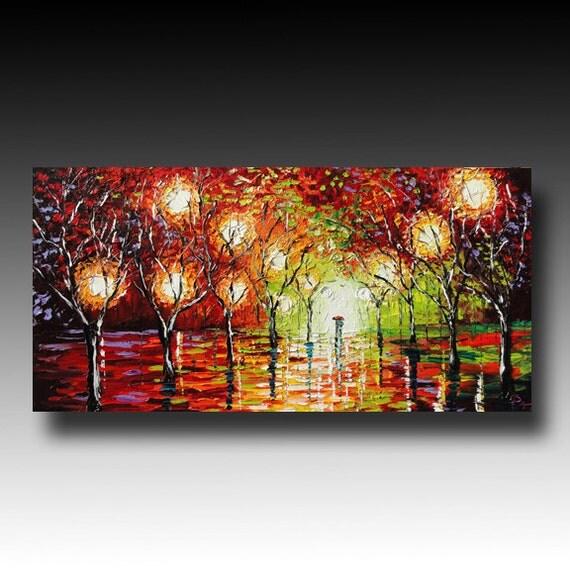 Original Oil  Painting on Canvas Rainy Night  ART Palette Knife Painting Impasto  B. Sasik