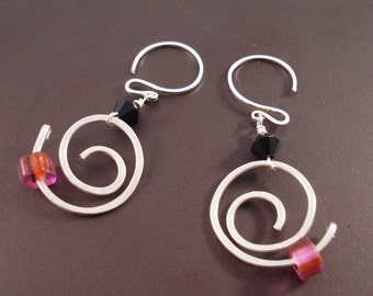 Sterling Silver Wire Coil Earrings with Swarovski Crystals