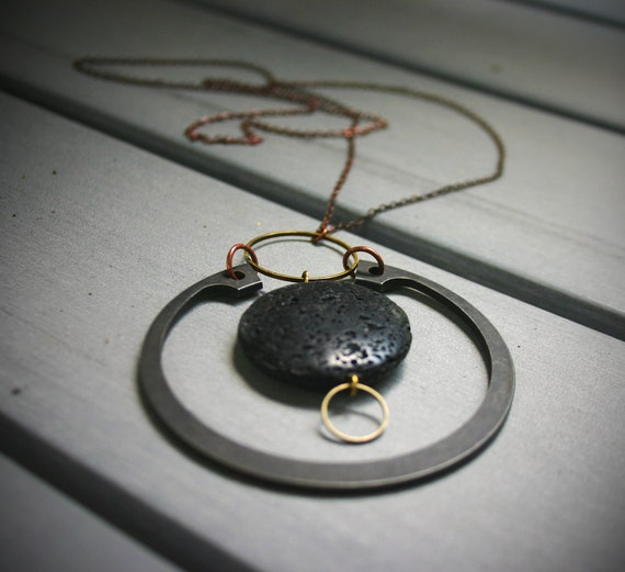 CIJ Sale 20% Off-CLUSTER Pendant-Mixed Metals and Lava Rock