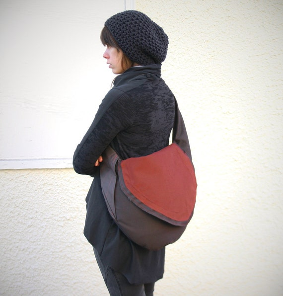 QLUE-Obi Sling Bag-Muted Brown and Vermilion