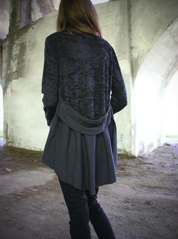 CINDER-Charcoal Jersey Draped Cardigan