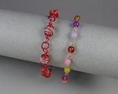 Two Wire Wrap Bracelets with Plexi Beads
