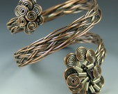 Antiqued Copper and Sterling Silver Spiral Braided Bracelet