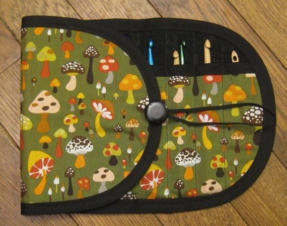 Tuck and Roll Crochet Hook DPN Organizer - Mushroom Forest
