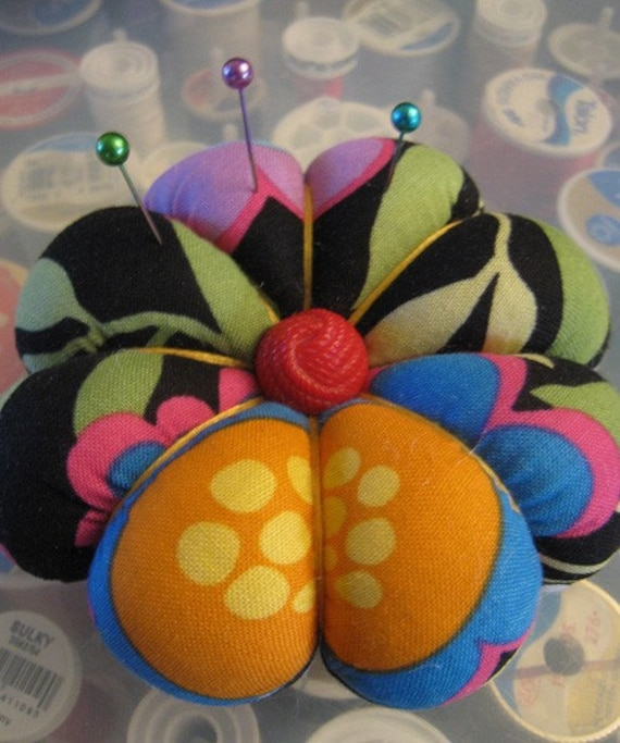 Bright Mod Flowers Petal Pincushion with Vintage Buttons