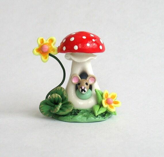 Miniature Toadstool Mushroom Mouse House OOAK by C. Rohal