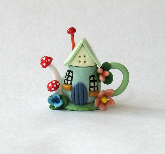 Miniature Little Cottage with Toadstools Teapot OOAK by C. Rohal