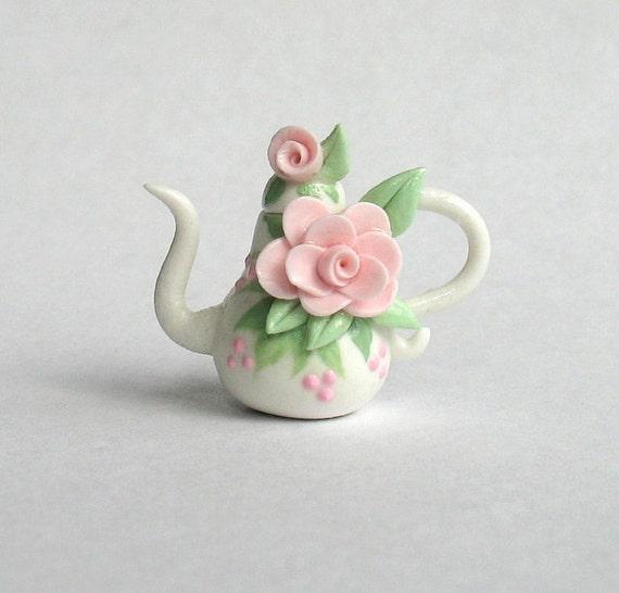 Miniature Shabby Rose Teapot OOAK by C. Rohal