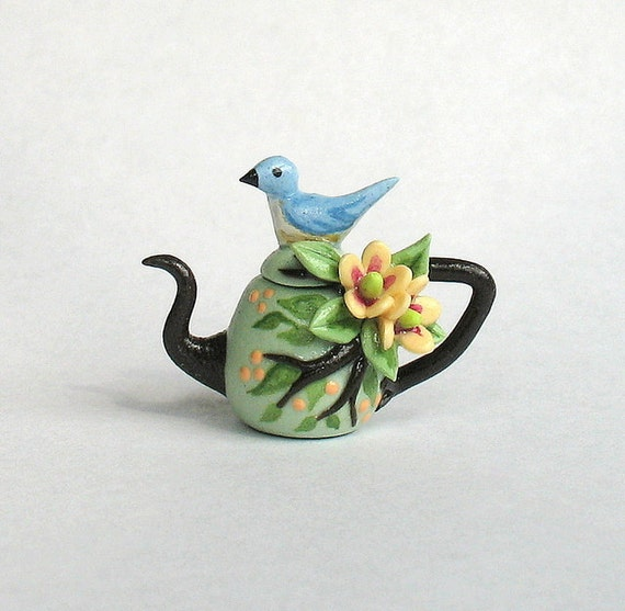 Miniature Blue Bird, Blossoms and BranchesTeapot OOAK by C. Rohal