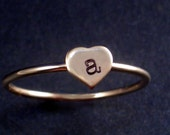 Hand Stamped Heart Initial Ring by donnaodesigns