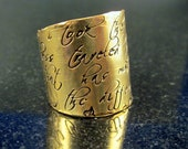 Signature Wide Band Message Ring for Denim2dye4