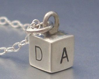 Hand Stamped Alphabet Block Charm by donnaodesigns