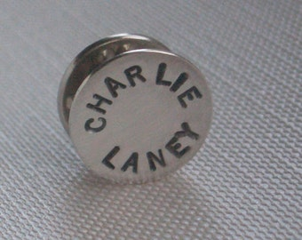 Personalized Sterling Tie Tack by donnaodesigns
