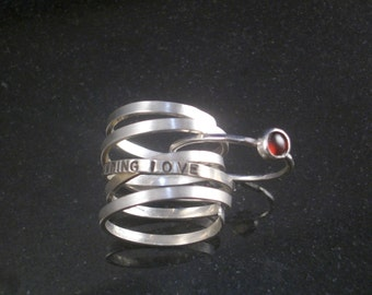Custom Wrap Around Ring With Gemstone Stacking Ring