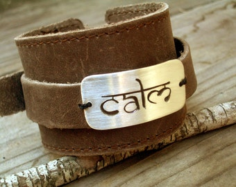 2 in 1 Unisex Leather ID Bracelet by donnaodesigns