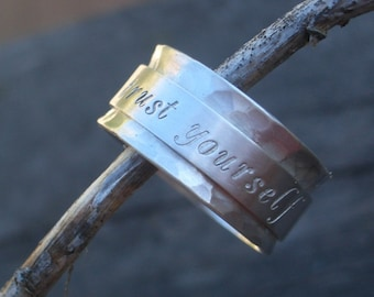 Say It On an Hand Stamped Sterling Spinner Ring