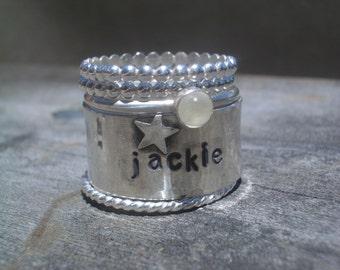 Custom Hand Stamped Stacking Ring Set