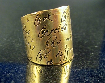 Golden Signature Wide Band Adjustable Message Ring by donnaodesigns