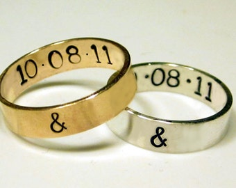 Silver and Gold Hand Stamped Posey Rings by donnaodesigns