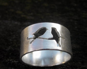 Birds on a Branch Sterling Ring by donnaodesigns