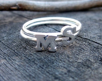 Sterling Silver Initial Stacking Ring Sale by donnaodesigns