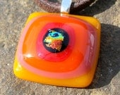 Fused Glass Fire Pendant