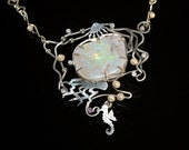 Australian opalised shell silver necklace. Geology necklace