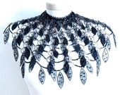 Black Swan (beaded, wirework, metalwork). Beaded Necklace. Statement necklace.