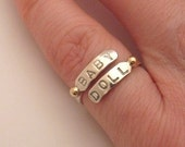 MADE TO ORDER - Stamped Endearment Pinkie Ring with 14k gold