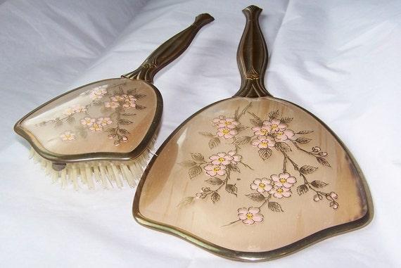 Vintage, Vanity, Dresser, Mirror with Brush
