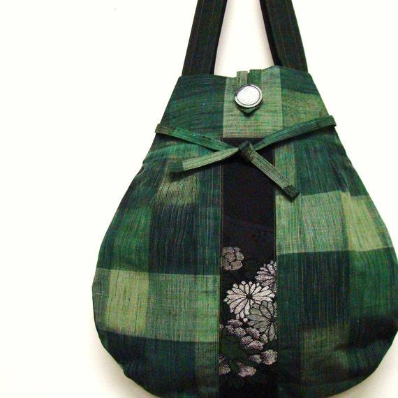 Japanese Vintage Kimono Tote - Green Tone Plaid