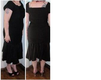 Gorgeous Late 50s-Early 60s Mermaid Dress Jersey Knit & Taffeta - S-M