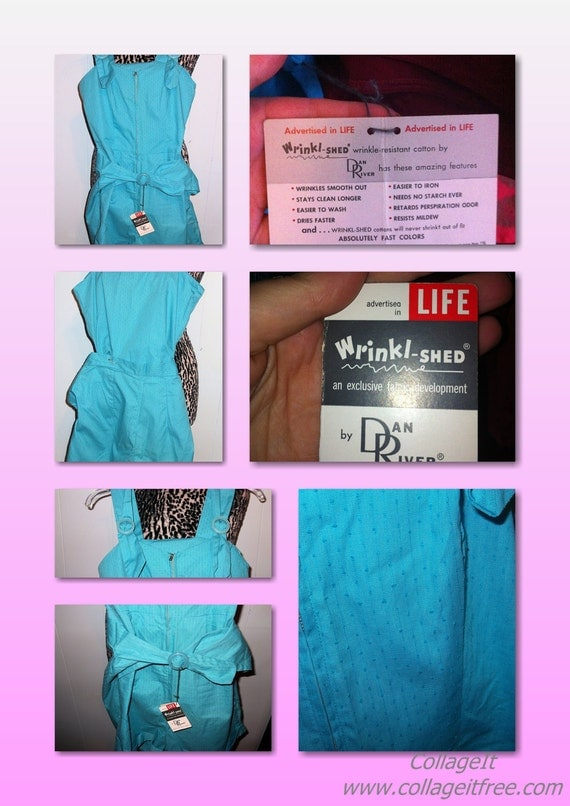 1950s Deadstock Pin-Up Playsuit/Romper Turquoise  XS/S VLV