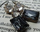 Vintage Black Diamond Jewel, Rhinestone and Brass Reconstrusted Earrings - Casablanca