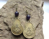 Amethyst and Quan Yin Brass Blessing Earrings