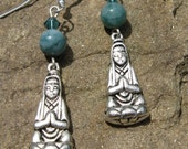 Quan Yin and Amazonite Earrings Sterling Silver Hooks w/  Swarovski crystals