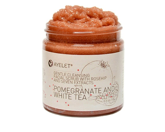 Pomegranate Facial Scrub with Rosehip Avocado and Seven Extracts, Natural, Organic, Gentle, Vegan