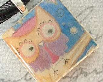 Owl Photo Picture Pendant  made of polymer clay and resin with organza ribbon necklace
