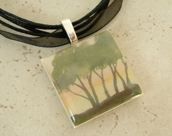 Photo pendant, Fall Trees at Dawn made of polymer clay and resin with organza ribbon necklace