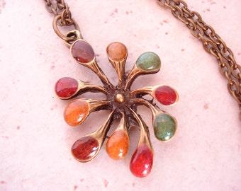 Dandelion Pendant Necklace Autumn Metallic Colors, Antique Brass, handmade, includes thin antique brass chain
