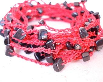 Black Onyx Chips on Red Thread, crochet wrap necklace, bracelet, lariat, versatile jewelry