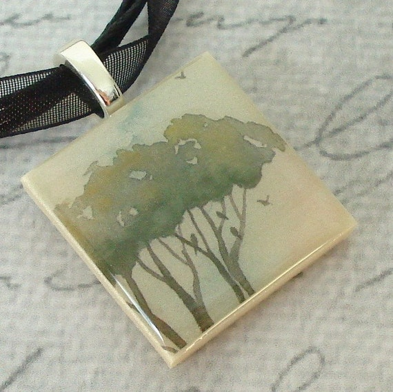 Early Birds polymer clay photo picture pendant with organza ribbon necklace