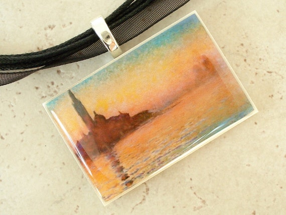 Sunset In Venice by Claude Monet  polymer clay photo picture art pendant on organza ribbon necklace