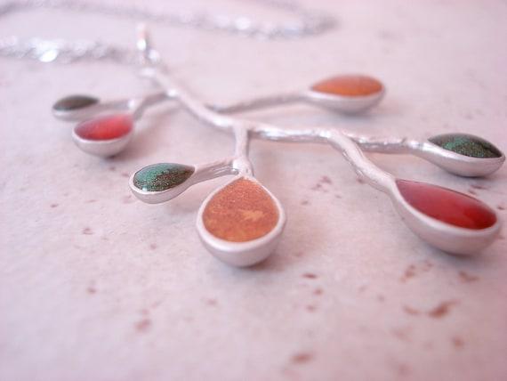 Tree Branch pendant necklace, Autumn Dew Drops, matte silver, metallic colors, copper, gold, emerald on petite matte silver chain