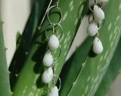 Silver and White Drop Earrings